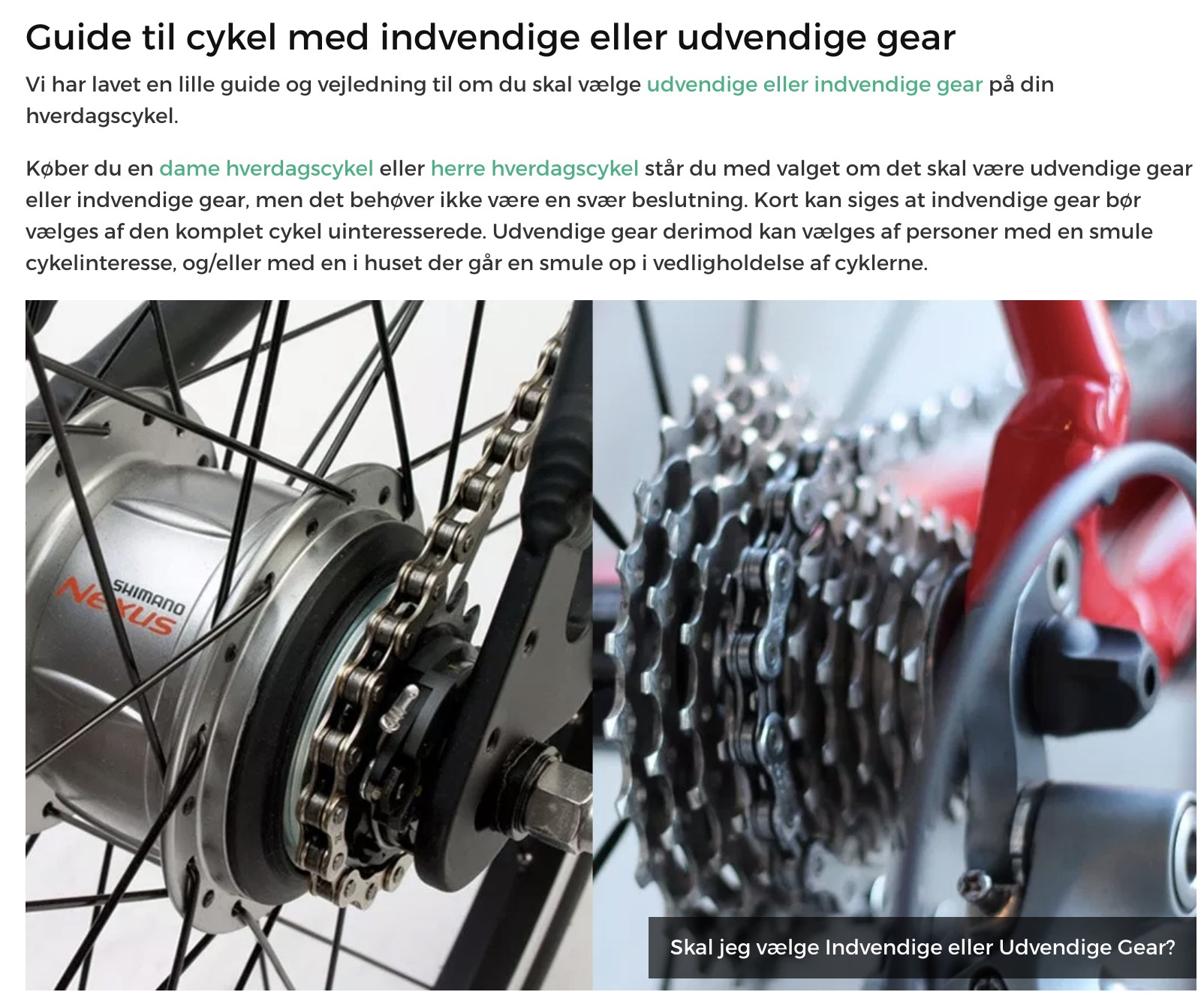 Guide til cykel - content